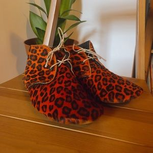 Anniel orange leopard print booties 7 BT